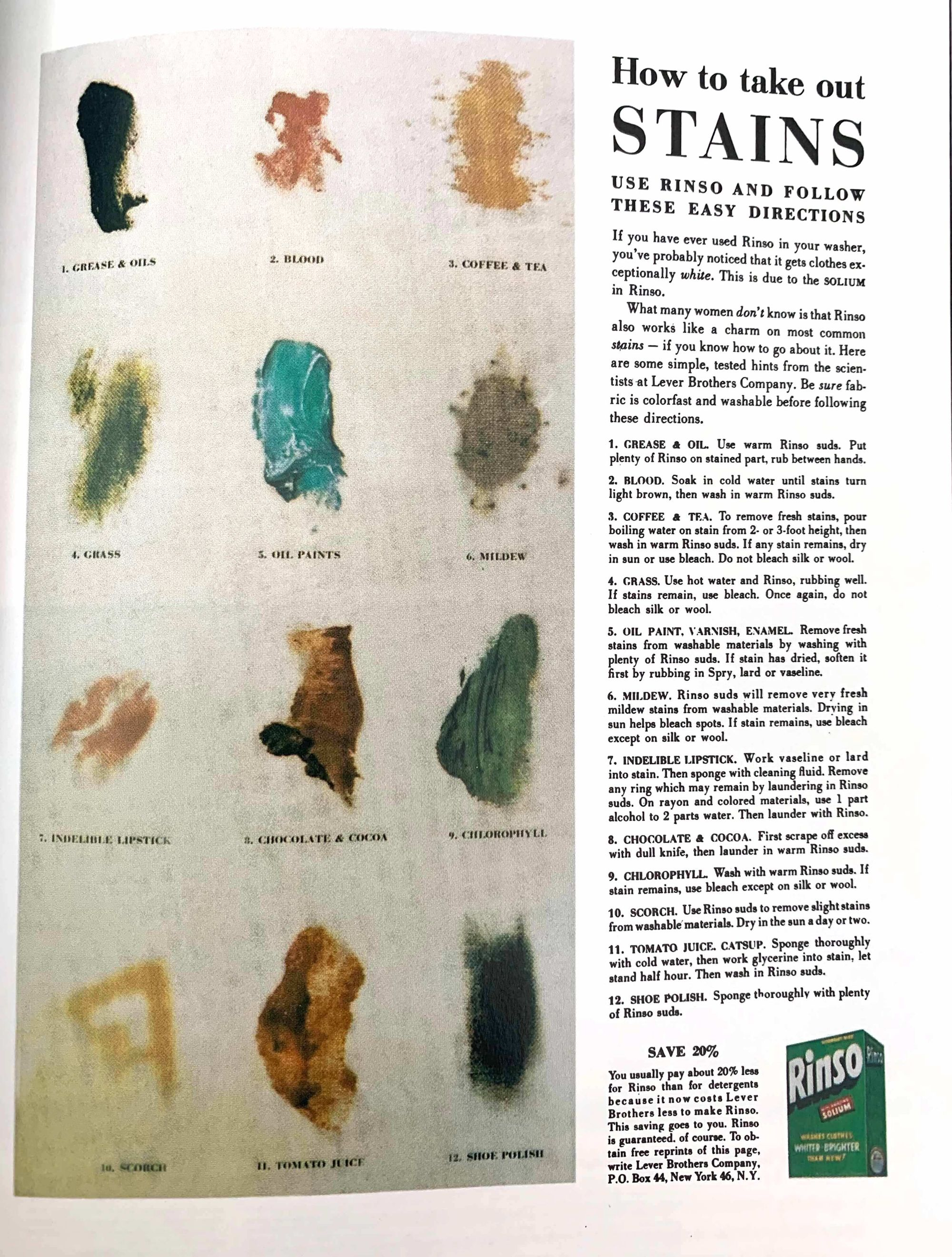 Rinso's How to Take Out Stains Ad by Ogilvy