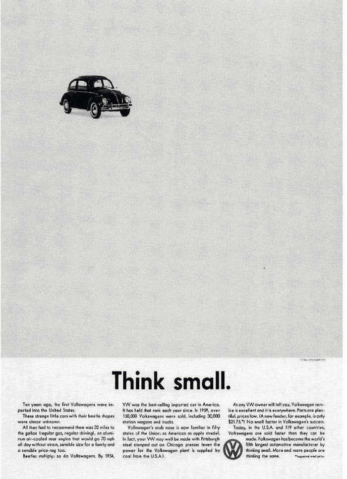 "Volkswagen ""Think Small"" ad by DDB"