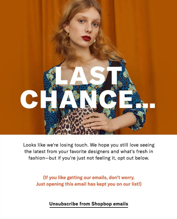 Re-Engagement Email from Shopbop