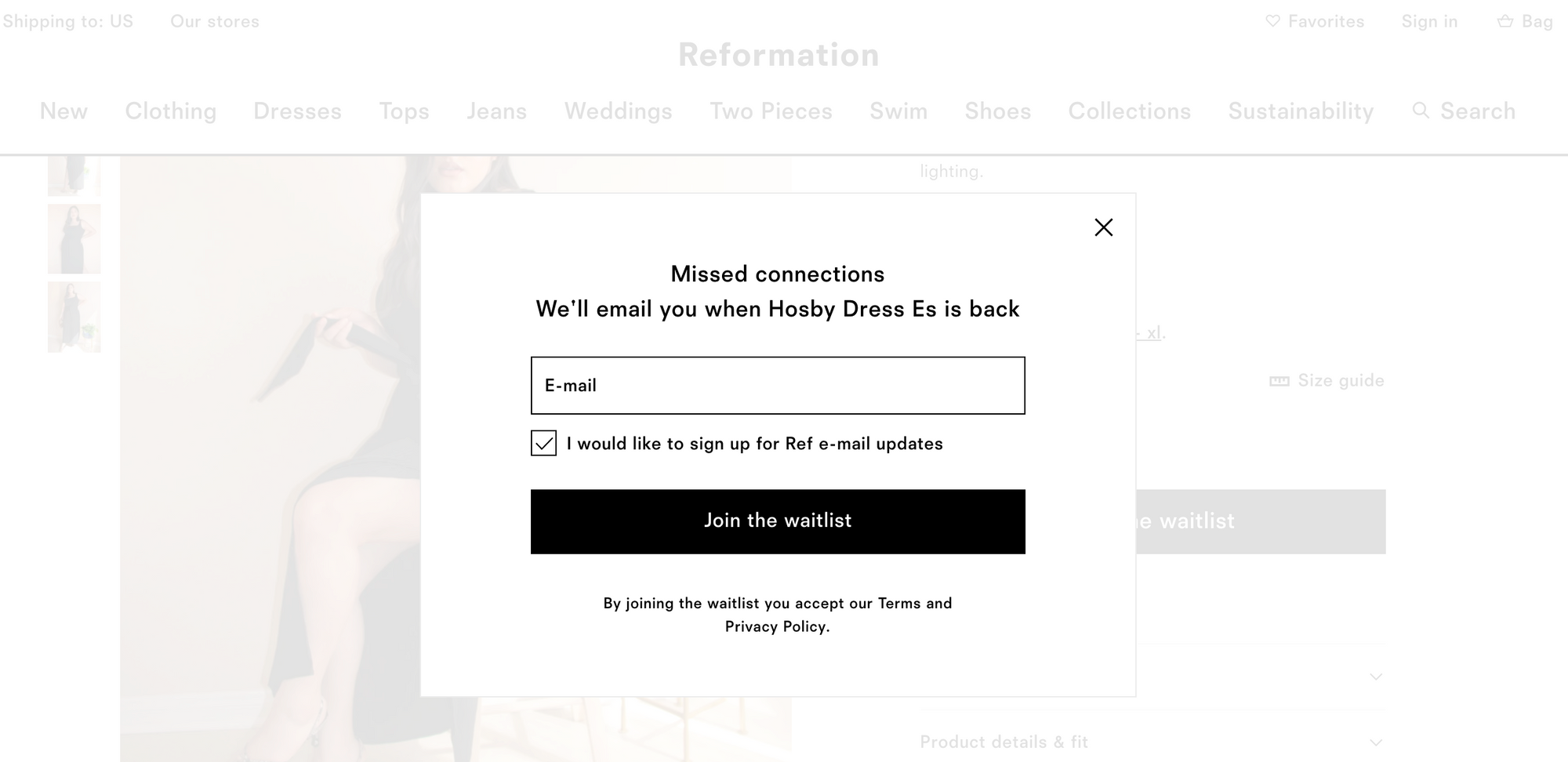 Back in Stock Notification - Reformation