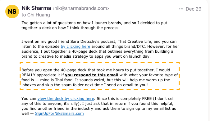 Nik Sharma - Confirmation email