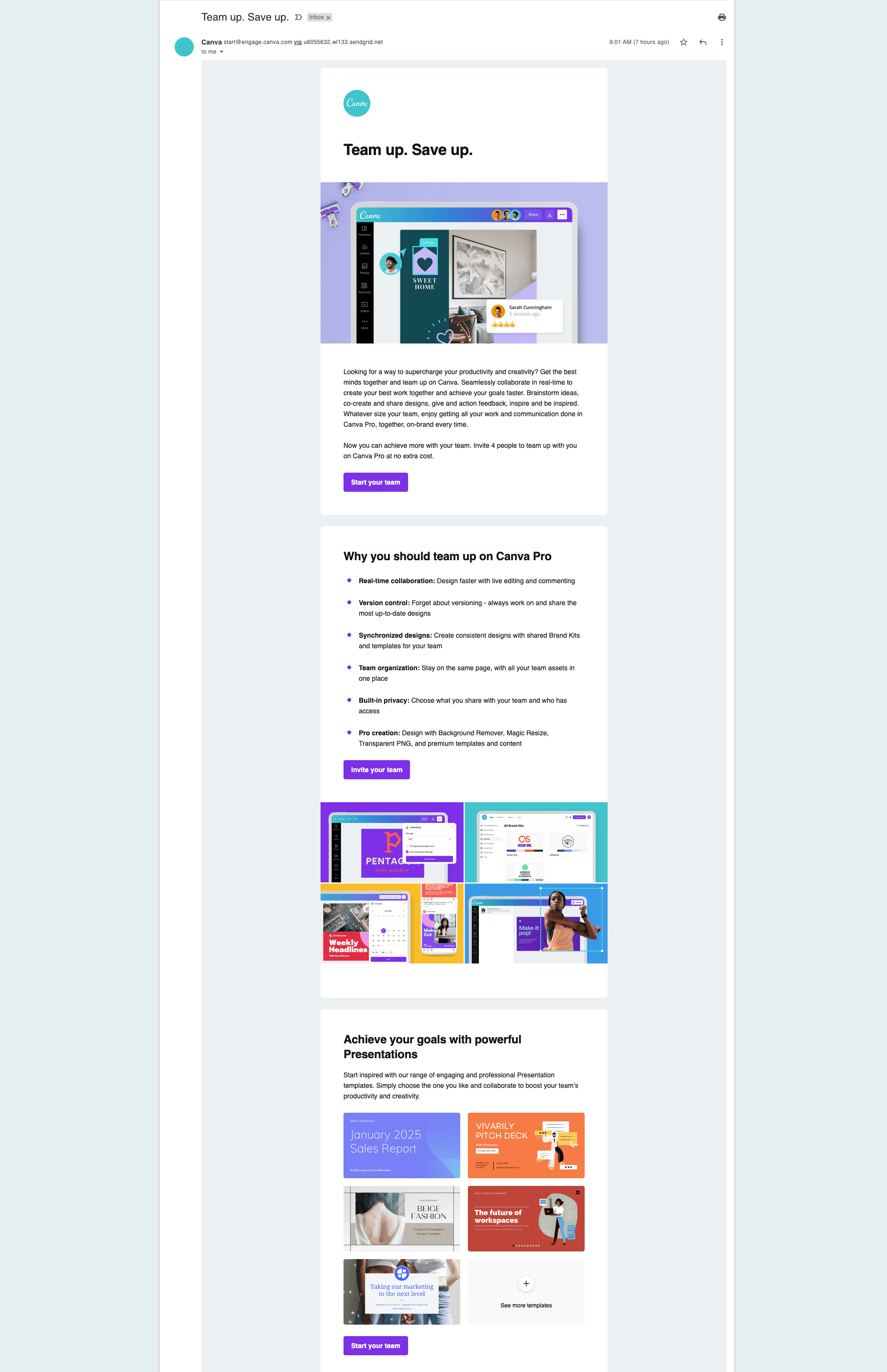 Canva -  CTA for every section
