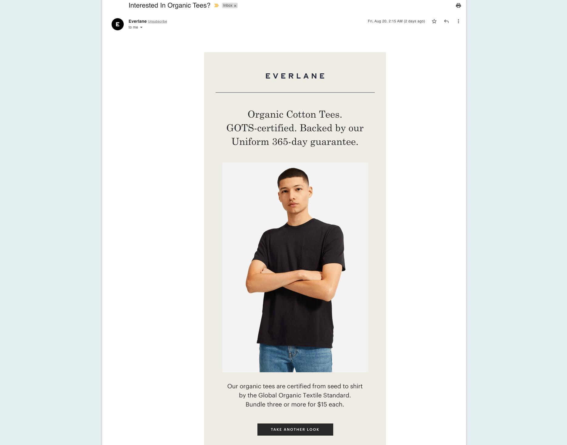 Everlane - Cart abandon email