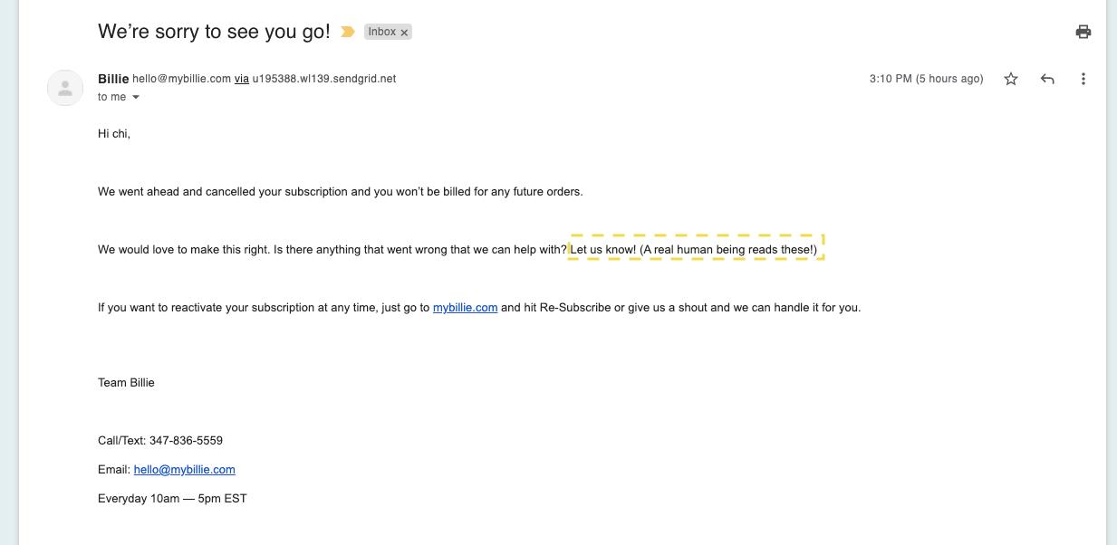 Billie - Cancelation confirmation email
