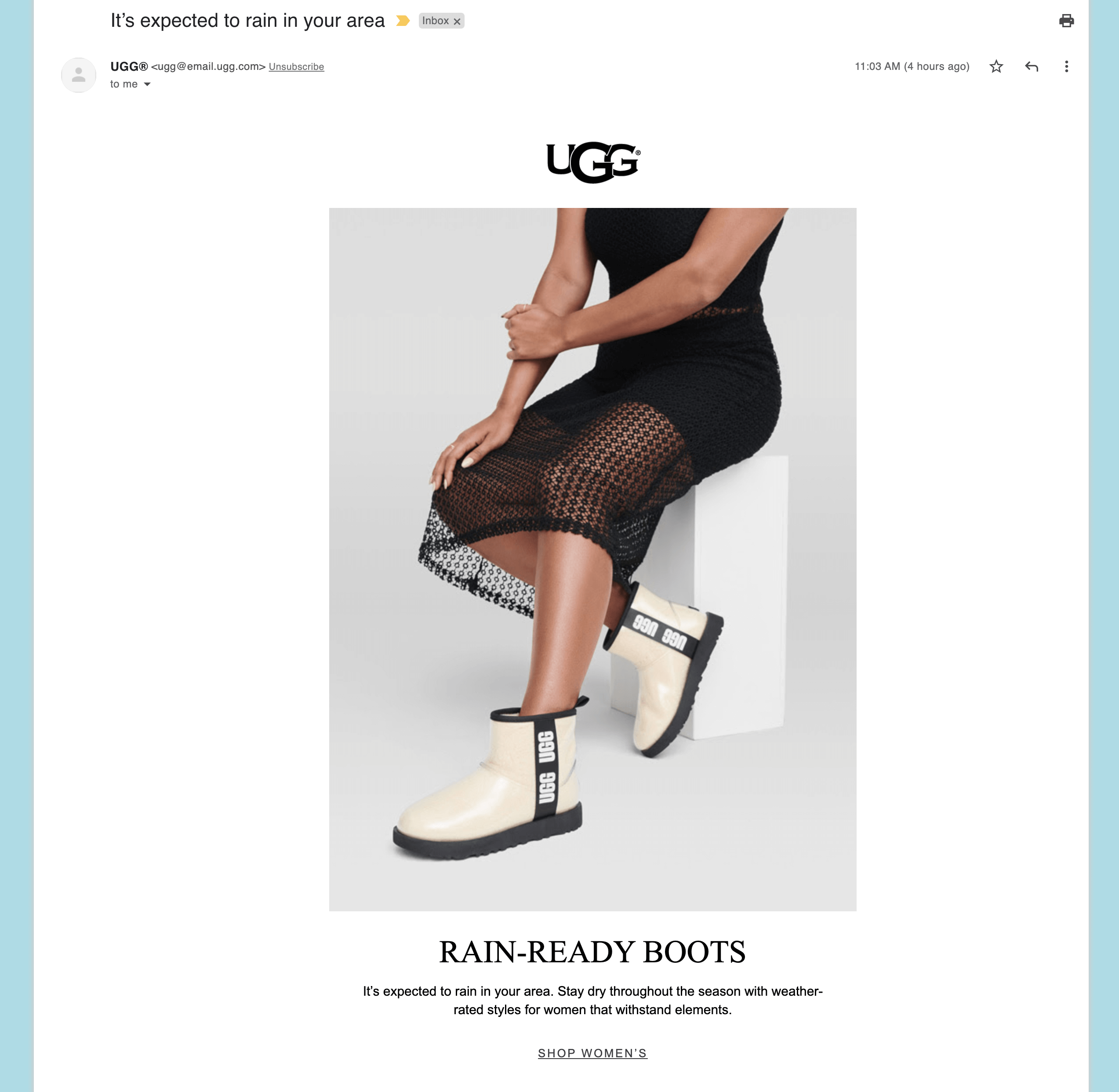 UGG - Product recommendation email